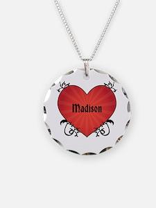 Custom Name Tattoo Heart Necklace