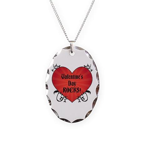 Valentine's Rocks Necklace Oval Charm