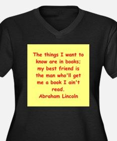 abraham lincoln Women's Plus Size V-Neck Dark T-Sh