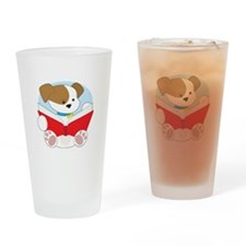 Cute Puppy Reading Drinking Glass