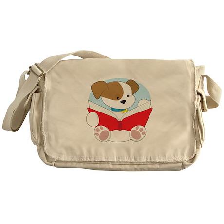 Cute Puppy Reading Messenger Bag