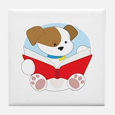 Cute Puppy Reading Tile Coaster