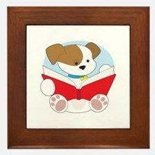 Cute Puppy Reading Framed Tile