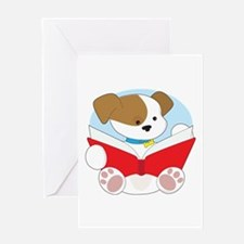 Cute Puppy Reading Greeting Card