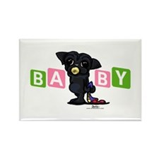 Girl baby PUG black Rectangle Magnet