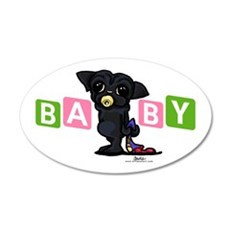 Girl baby PUG black 38.5 x 24.5 Oval Wall Peel