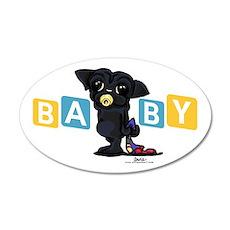 Boy baby PUG black 38.5 x 24.5 Oval Wall Peel
