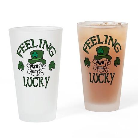 Feeling Lucky Skull Drinking Glass