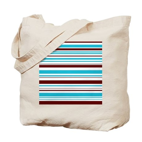 Blue & Brown Stripes Tote Bag