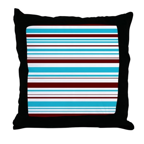 Baby Blue And Brown Throw Pillows : Blue & Brown Stripes Throw Pillow by kadesigns