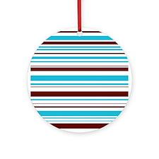 Blue & Brown Stripes Keepsake (Round)