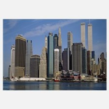 Skyscrapers along the water, Manhattan, New York C