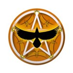 Crow Pentacle - Yellow - Ornament (Round)