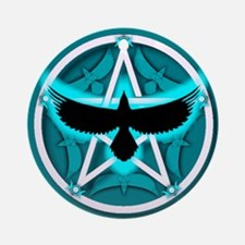 Crow Pentacle - Teal - Ornament (Round)