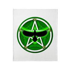 Crow Pentacle - Green - Throw Blanket