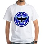 Crow Pentacle - Blue - White T-Shirt