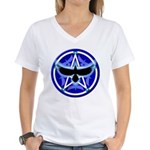 Crow Pentacle - Blue - Women's V-Neck T-Shirt