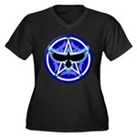 Crow Pentacle - Blue - Women's Plus Size V-Neck Da
