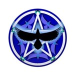 Crow Pentacle - Blue - Ornament (Round)