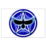 Crow Pentacle - Blue - Large Poster