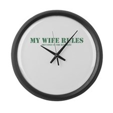 My wife rules the kitchen Large Wall Clock