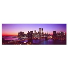 New York City, Brooklyn Bridge, twilight Poster