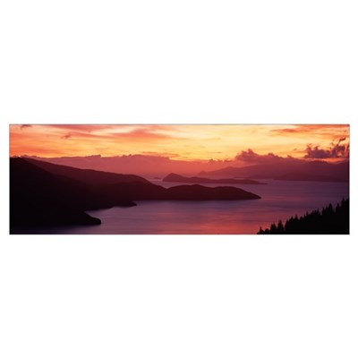 Sunset Queen Charlotte Sound New Zealand Framed Print