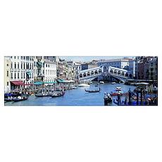 Rialto Bridge and Grand Canal Venice Italy Poster