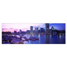 Maryland, Baltimore, Inner Harbor, sunset Framed Print