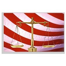Scales of Justice American Flag Poster