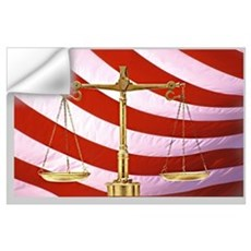 Scales of Justice American Flag Wall Decal