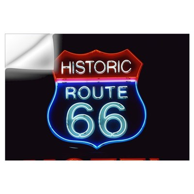 Neon Route 66 Sign Wall Decal