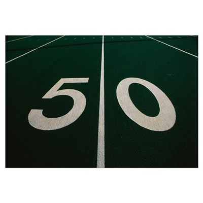 50 Yard Line of Football Field Framed Print
