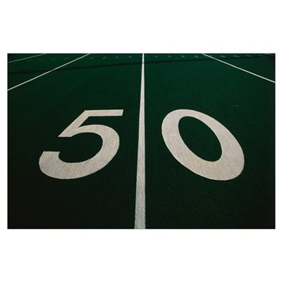 50 Yard Line of Football Field Poster