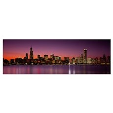 Dusk Skyline Chicago IL Poster