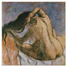 Woman Combing her Hair, 1905 10 (pastel on paper) Poster