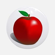 Red Apple Fruit Ornament (Round)