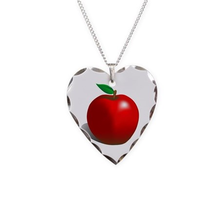 Red Apple Fruit Necklace Heart Charm