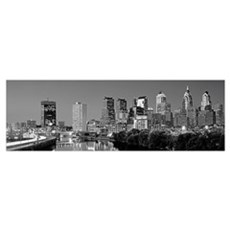 US, Pennsylvania, Philadelphia skyline, night Poster