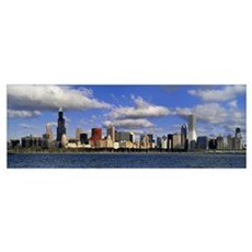 Illinois, Chicago, Panoramic view of an urban skyl Poster