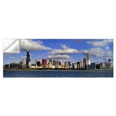 Illinois, Chicago, Panoramic view of an urban skyl Wall Decal