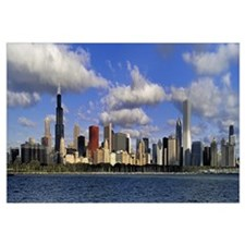 Illinois, Chicago, Panoramic view of an urban skyl