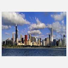 Illinois, Chicago, Panoramic view of an urban skyl