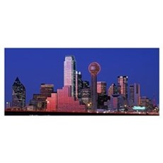 Texas, Dallas, Panoramic view of an urban skyline Framed Print