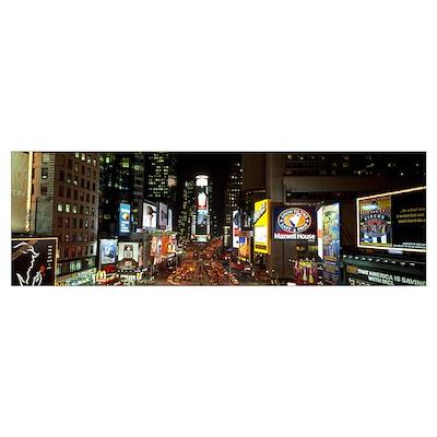 Times Square at Night New York City NY Poster