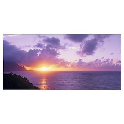 Sunset at Hanalei Bay Kauai HI Poster