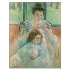 Mother and child (pastel on paper) Poster