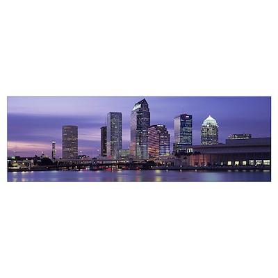 Florida, Tampa, View of an urban skyline at night Poster