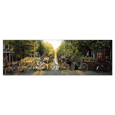 Netherlands, Amsterdam, bicycles on bridge over ca Poster