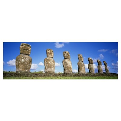Chile, Easter Islands, stone heads Poster
